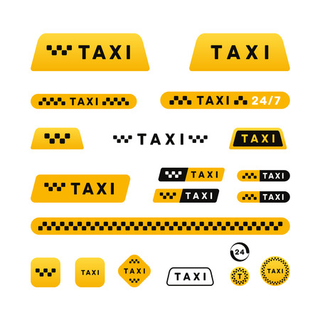 taxi sign: Taxi stylish set of icons and stickers
