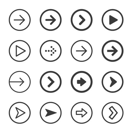 satin round: Clean and modern arrows sign icon set