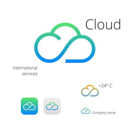 Cloud stylish  icons Vettoriali