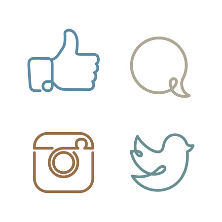 ソーシャル ネットワークのアイコンと srickers のベクトルのセット  イラスト・ベクター素材