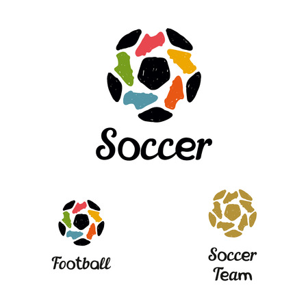 soccer boots: Hand drawn icon soccer ball and football boots constituents a star
