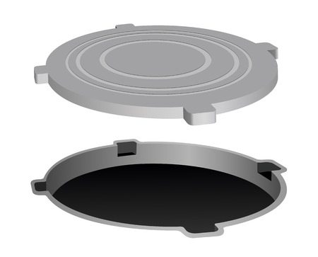 Open metal manhole. Vector illustration