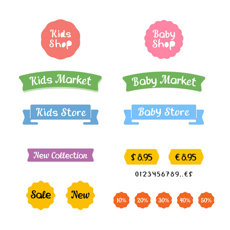 little boy and girl:  icons and stickers for Kids Shop, Baby Market or Children Store