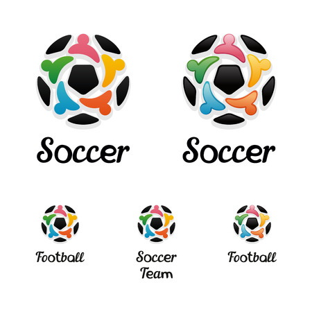 icone:  soccer ball and united people icons like a star