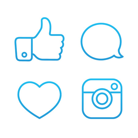 babble: Beautiful Contour Social Icons Buttons and Stickers Vector Set Illustration