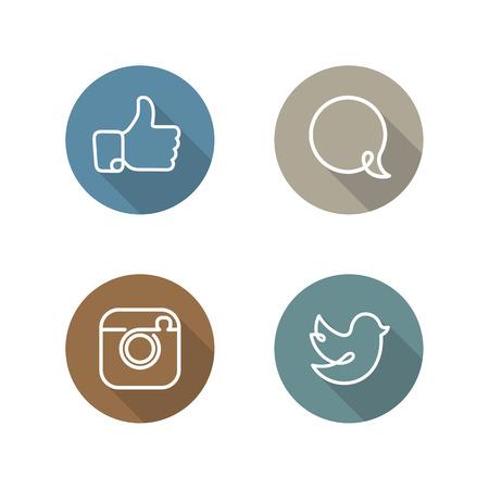 ソーシャル ネットワークのアイコンとステッカーのベクトルのセット