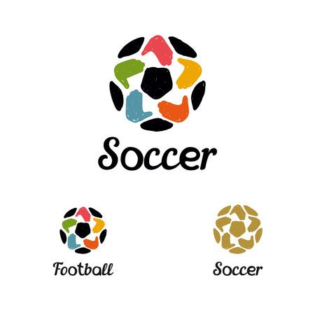 ballon foot: Dessiné à la main avec un ballon de soccer avec des mains comme une étoile