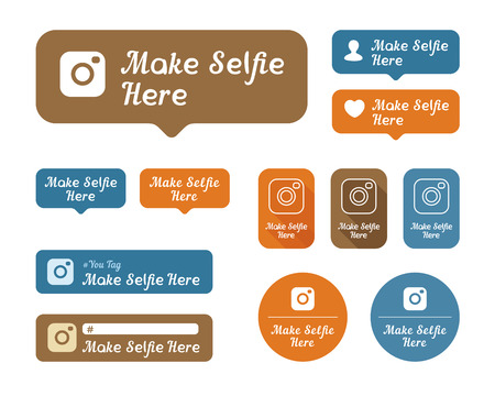 keywords bubble: Make selfie here Icons and stickers set. For cafes and other establishments Illustration