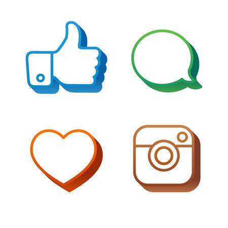 volumetric: Volumetric Social Icons and Stickers Vector Set
