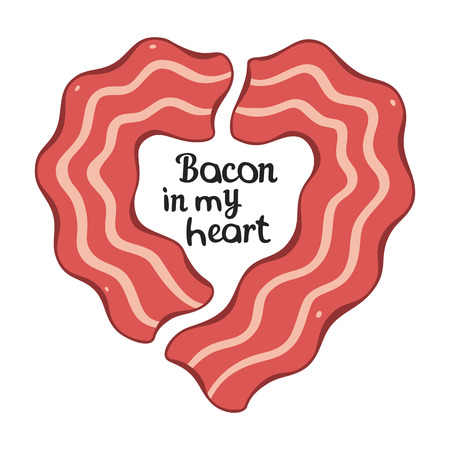 bacon strips: Bacon Heart Design Template for T-shirt or Other Works