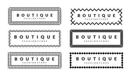 fashion boutique: Creative Borders Design Template Set For Hipsters Fashion Boutique