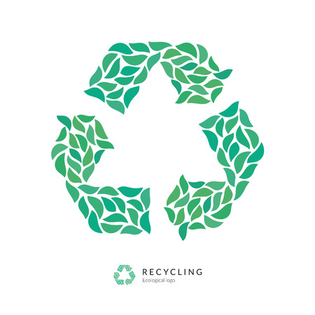 green arrow: Recycle Symbol  Icon Made up of Green Leaves Ecological Design Concept