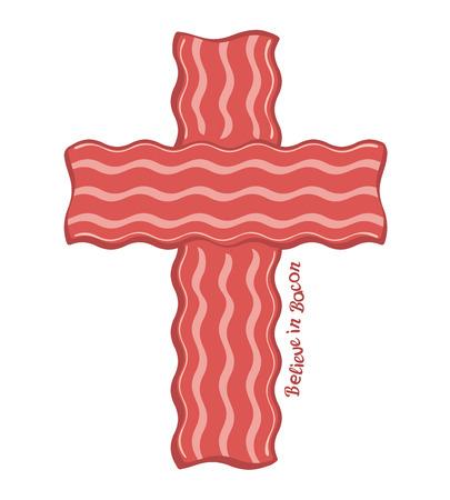 bacon strips: Cross Bacon Design Concept for T-shirt Believe in Bacon