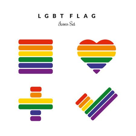 transexual: Orgullo LGBT Rainbow Flag Icons Set Vectores