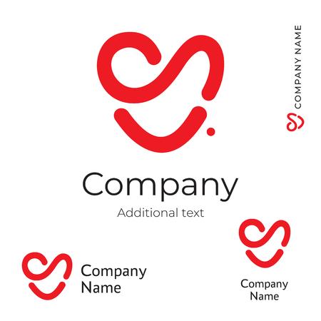 Red Heart Line icon. Modern Love Identity Brand Symbol