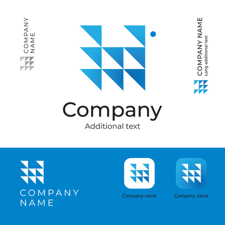 Triangles abstract modern icon design for serious and perspective business company. Identity brand app icon symbol concept set. Template vector illustration.  イラスト・ベクター素材