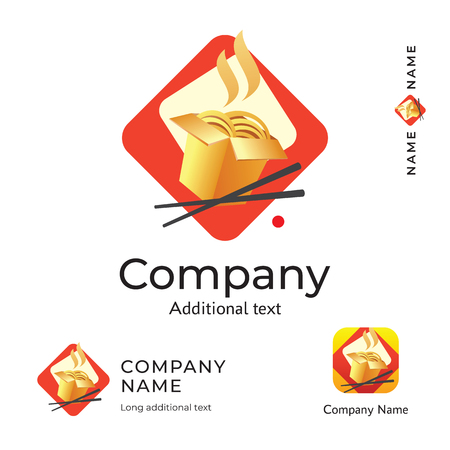 Asian traditional food icon. Modern identity beautiful China restaurant brand and app icon commercial symbol concept set. Template vector illustration.