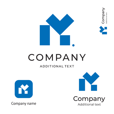 Letter M technological construction icon. Modern business identity brand and app icon symbol concept set. Template vector illustration.