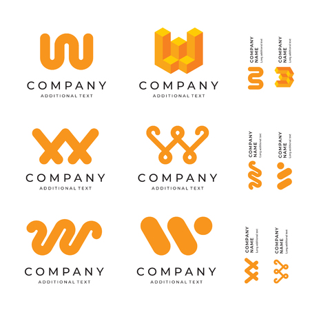 Letter W modern icon identity. Brand icons, business symbol concept set. Template vector illustration.
