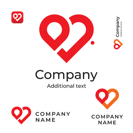 Modern Red Heart Line Logo for Brand and App Icon  イラスト・ベクター素材