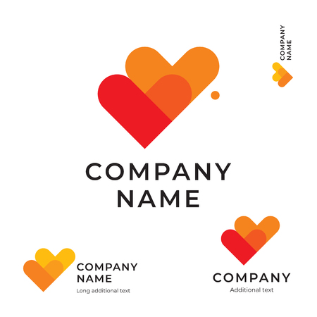 Two Heart Modern Logo for Brand and App Icon