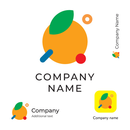 Modern Orange with a Leaf Logo for Brand and App Icon  イラスト・ベクター素材
