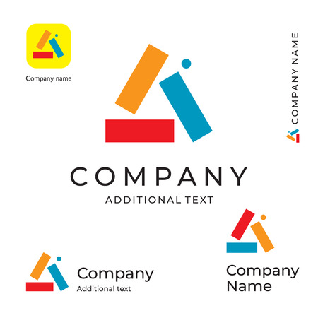 Multicolored Triangle Abstract Logo for Brand and App Icon  イラスト・ベクター素材