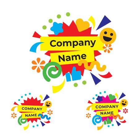 Funny and Happy Party Logo Modern Holiday Composition Emblem Celebration Identity Icons Symbol Concept Set Template Vector Ilustração