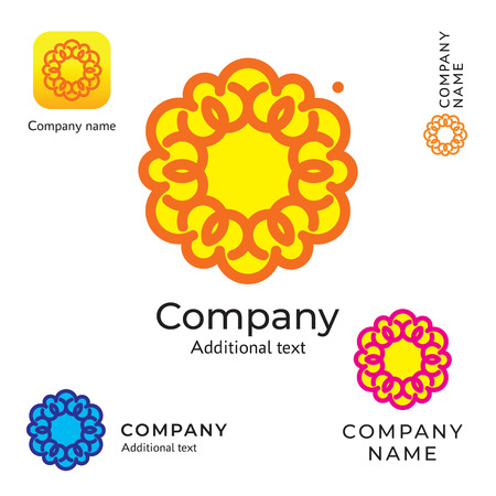 Contour Flower Logo for Brand and App Icon