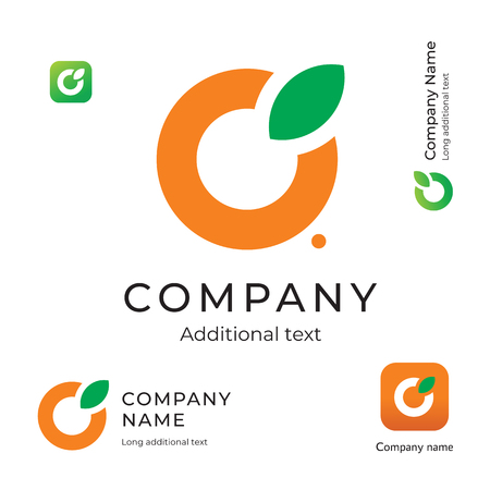 Orange with a Leaf Logo for Brand and App Icon