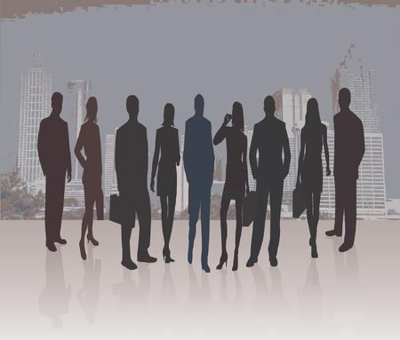 introducing: Business Team Manager presentar Proyecto - silueta ilustraci�n vectorial