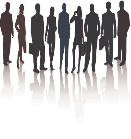 introducing: Business Team Manager presentar Project - vector silueta ilustraci�n