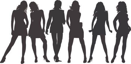 Posing women - silhouette vector illustration Stock Vector - 541207
