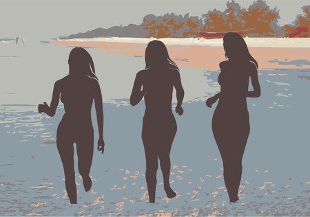 Girls on Beach Stock Vector - 541206