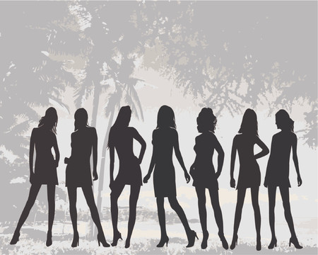 Posing women - silhouette vector illustration Stock Vector - 541204