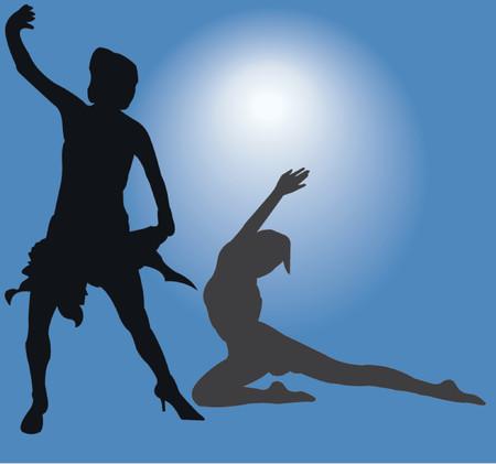 femme: Dancing Girls - vector silhouette illustration Illustration