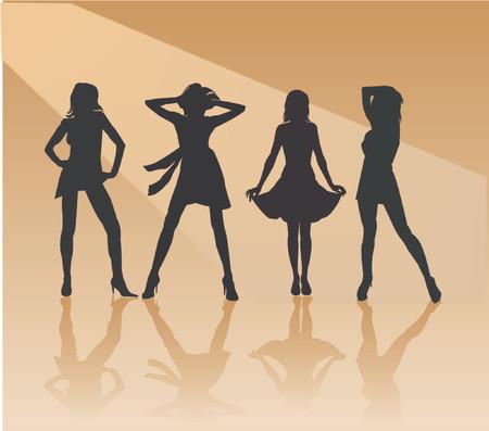 feministische: Sexy Girls - silhouet vector illustration