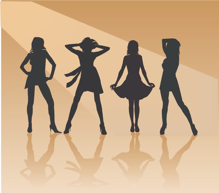 stripper: Sexy Girls - vector silhouette illustration Illustration