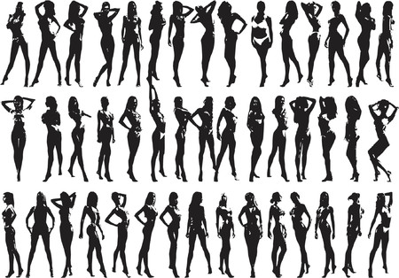Beautyfull Girls - Silhouette Illustration Vector