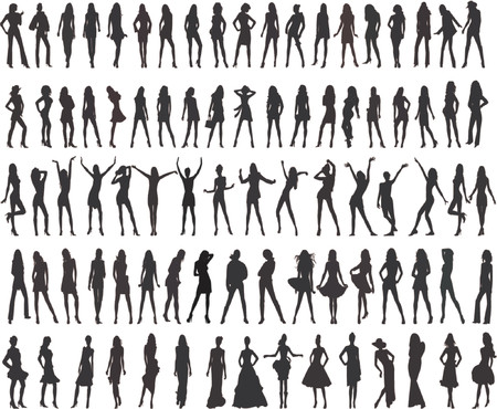 Beautyfull fashion girls - Silhouette  Illustration Illustration