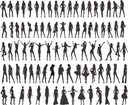 Lindas niñas moda - Silueta Ilustración