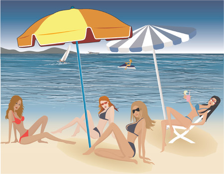 Beautiful sexy girls on the beach-vector