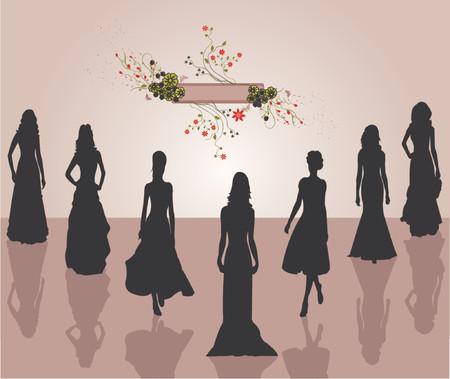 Fashion girls - Silhouettes - vector