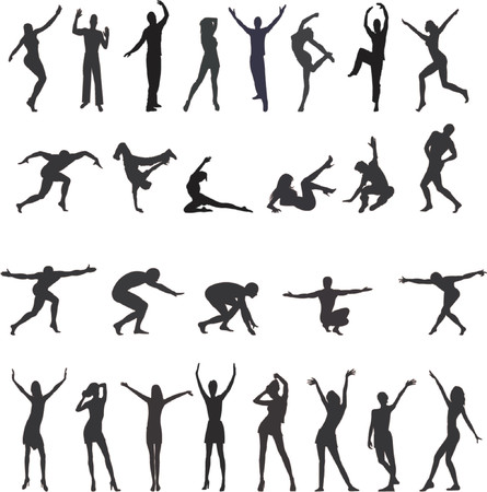 People silhouettes - vector Vector