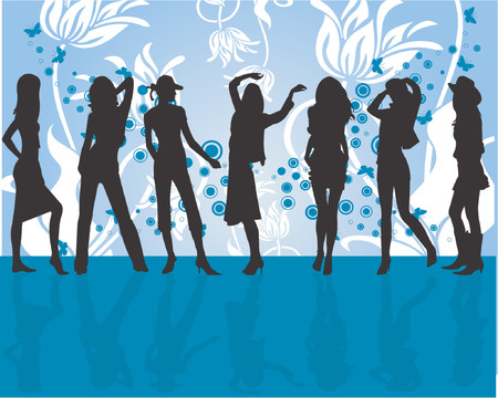 skirt suit: Fashion girls - Silhouettes - vector