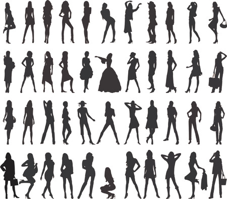 skirts: Sexy Women Silhouettes - vector