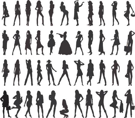 siluetas mujeres: Siluetas atractivas de las mujeres - vector