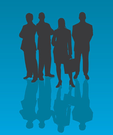 woman tie: Business Team - vector silhouettes illustration