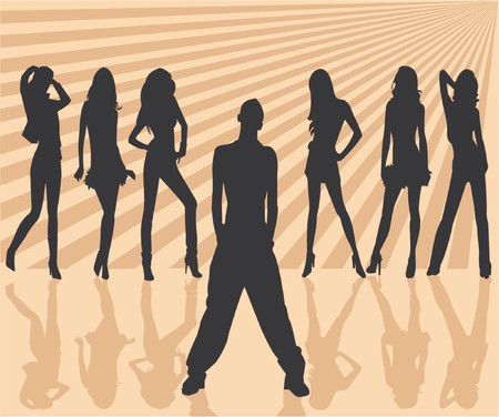 youngsters: Vector silhouettes man and women