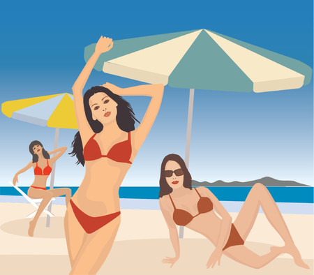 exotic dancer: Attractive girls on beach - vector